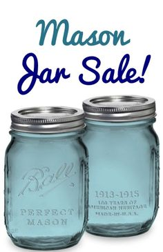 Blue Pint Mason Jars Set of 6 Sale: $9.89! {Ball Heritage Collection} - such a PRETTY blue color, and perfect for Candle Holders, Pantry Organization, and Gifts in a Jar!