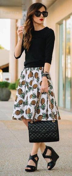 #streetstyle #casualoutfits #spring | Black Top + Pineapple Print Skirt | Sequins & Things