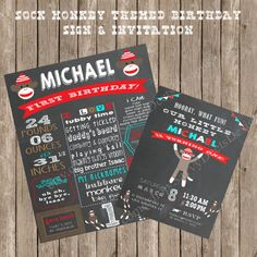 Celebrate your little ones birthday with this fun Sock Monkey themed design! Send out the adorable invites to your sock monkey themed birthday
