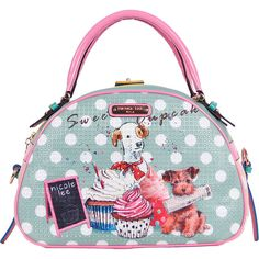 Nicole Lee Cupcake Dog Print Bowler Bag Satchel ($90) ❤ liked on Polyvore featuring bags, handbags, blue, manmade handbags, satchel purse, clear purse, nicole lee purses, white satchel handbags and bowling bag