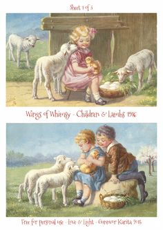 Wings of Whimsy ~ 1916 Children & Lambs Easter Postcards