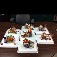 """""""Gingerbread Houses"""" made from recycled milk & juice cartons! Use graham crackers for sides & icing like glue. My students had fun decorating them with candy!"""