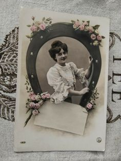 Antique tinted photo-postcard, lady, roses, lucky horseshoe, small secret letter Lucky Horseshoe, Photo Postcards, Lady, Vintage Photos, Vintage Ladies, Roses, Lettering, Antiques, Frame
