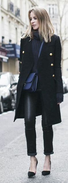 Camilla & Marc Black Women's Military Inspired Coat by Oracle Fox great look for winter