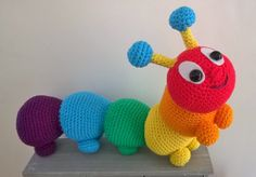 Cyril the rainbow caterpillar by Liz Ward amigurumi crochet pattern by AmigurumiBarmy on Etsy
