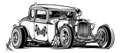 Quickly and simply build a personalized website to showcase your creative work with Adobe Portfolio. Garage Logo, Garage Art, Hot Rods, Rockabilly Tattoos, Desenio Posters, Cool Car Drawings, Rendering Art, Drawing Machine, Cars Coloring Pages