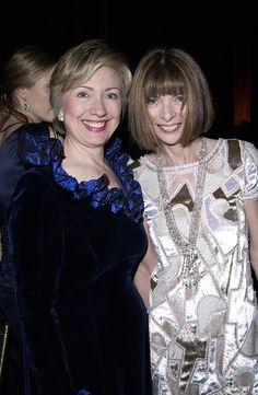 Anna with Hillary Clinton at amfAR, 2003.