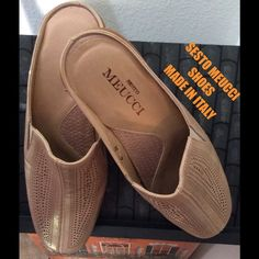 ‼️REDUCED‼️ SESTO MEUCCI LEATHER SLIDES SIZE 6 SESTO MEUCCI PERFORATED METALLIC LEATHER SLIDES/ MULES. BEIGE. NEW W/O BOX MADE IN ITALY LOGO ON INSOLES AND OUTSOLES I have other Sesto Meucci shoes and they are the most comfortable shoes I have ever owned. Retails over $220 Sesto Meucci Shoes