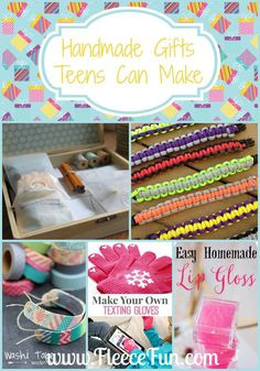 Handmade gifts is a perfect activity for teens. They're fun, one of a kind and oh yeah - they can be a huge money saver! Here are a bunch of ideas of items that your teen can make for a handmade holiday! Easy Homemade Lip Gloss via Fleece Fun DIY Wooden Washi Tape Bracelets via Mama Miss Stationary Kit via Dandee DIY Texting Gloves via SNAP Creativity Paracord Bracelets via A Girl and a Glue Gun Sharpie Mug Tutorial via Fleece Fun Galaxy Painted Converse via Sparkle Collective Homemade…