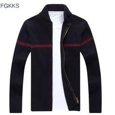 FGKKS High Quality Christmas Sweater Winter Thick Warm Windbreaker Sweater Men Kintwear Stand Zipper Collar Cardigan Men #Affiliate