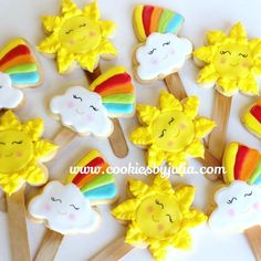 After the storm! Sun, rainbow, cloud cookie pops; cookie set by Julia Perugini