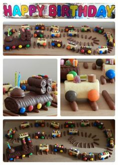 Chocolate log train cake made for a little boys 2nd birthday cake. #birthday #cake #train