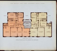 Typical floor plan of The Amherst and The Cortlandt. circa 1910