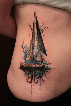 Rib Watercolor Ship Tattoos.                                                                                                                                                                                 Mais