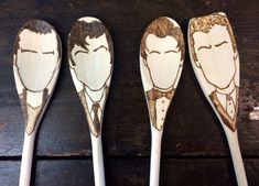 Doctor Who Wooden Spoons Set of 4 Dr Who by TreehouseIllustrator