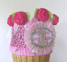 1st  Birthday  Crown  Hat  Adult or Child-  pink cheetah- customize with any number or saying via Etsy