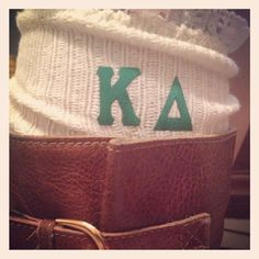 Kappa Delta Boot Socks, these would be super cute if we could make them!