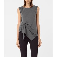 AllSaints Rivi Vest ($70) ❤ liked on Polyvore featuring outerwear, vests, coal grey, vest waistcoat, gray vest, grey waistcoat, allsaints and grey vest