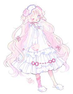 "hacuubii: ""new adoptable ♥ sleepy sheep "" Lolis Anime, Cute Anime Chibi, Kawaii Anime Girl, Anime Art Girl, Cute Kawaii Drawings, Kawaii Art, Arte Peculiar, Anime Child, Cute Art Styles"