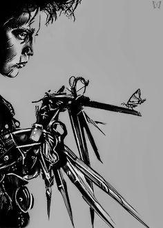 Edward Scissorhands by © (Please leave credit … Ƹ̴Ӂ̴Ʒ) Tim Burton Art, Tim Burton Style, Tim Burton Films, Edward Scissorhands Hands, Scissors Hand, Arte Alien, Tim Burton Characters, Barbershop Design, Johnny Depp Movies