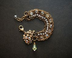 AB Luster Crystal Bracelet with Rhinestone Chain and Vintage Gold Chains