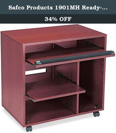 "Safco Products 1901MH Ready-to-Use Computer Workstation with 2 Pullout Shelves, Mahogany. The 3-C's. Convenient, Compact, Computer station. This ready-to-use unit stores flat and goes together in minutes without tools. Simply fold out hinged panels and snap them securely in place. Features a slide out printer shelf 18 1/2""W x 14 3/4""D, keyboard/mouse area 29 1/8""W x 11 3/4""D, a CPU compartment 9 3/4""W x 18 7/8""D x 21""H and additional lower storage space 19 1/2""W x 18 7/8""D x 10 1/4""H...."