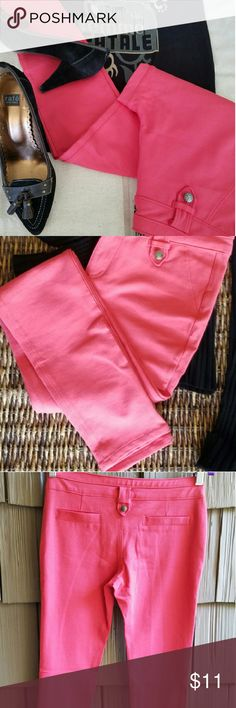 """Low Rise Coral Skinny Jeggs Measurements:? - Waist: 32? up to 34?? - Rise: 8.5""""? - Hips: 38? up to 46?? - Thigh: 17? up to 20?? - Inseam: 30?  Material: 68% Rayon, 27% Nylon, 5% Spandex? Condition: Thread coming loose in crotch (see photo)  Coral color skinny?jegg with zip and button front closure. Faux pockets front and back. Heavier weight legging with some spandex so there?s a little give. New, never worn. Chocolate   Pants Skinny"""