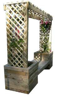 Build a Trellis Planter Bench Garden Trellis, Garden Planters, Garden Beds, Garden Path, Deck With Pergola, Pergola Shade, Pergola Plans, Pergola Ideas, Corner Pergola