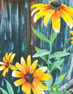 Mixed Media Artwork, Mixed Media Painting, Painting On Wood, Fence Painting, Painting Collage, Painting Abstract, Collage Art, Garden Fence Art, Garden Mural
