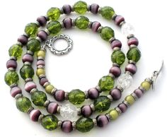 """Beaded Fashion Jewelry - This is a peridot green and clear crystal and cats eye bead necklace with a sterling silver toggle clasp. It is 23"""" long, .38"""" wide, no markings. Beautiful color combination,"""
