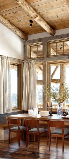 Rustic Dining Room: Canadian Log Homes Modern Rustic Homes, Rustic Home Interiors, Rustic Home Design, Diy Rustic Decor, Modern Farmhouse Decor, Cottage Interiors, Rustic Style, Home Interior Design, Kitchen Rustic