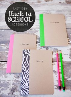 easy #diy back to school notebooks -- easy to personalize!