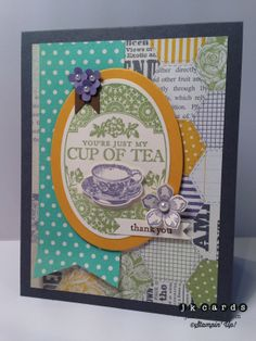 Stampin' Up!, Paper Craft Crew 87, Tea Party, Teeny Tiny Wishes, Petite Petals, Afternoon Picnic DSP, Ovals Collection Framelits, Bitty Banners Framelits, Petite Petals Punch, Itty Bitty Shapes Punch Pack, Basic Jewels Pearls