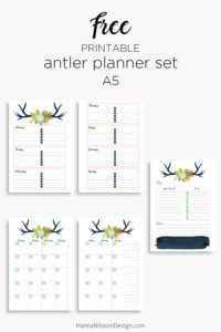 Floral antler planner inserts in A5 and personal size | day on one page | week on two pages | month on two pages | free printables | #planners #plannerprintables #freeprintables