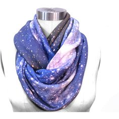 Galaxy Scarf SMC Nebula Circle Scarf, Galaxy Printed Scarf, Infinity... ($75) ❤ liked on Polyvore