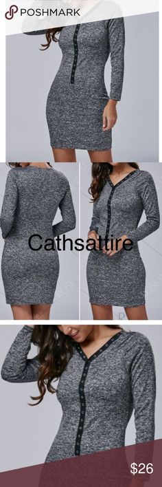 "Button Long sleeve gray bodycon dress. Button Long sleeve gray bodycon dress.  Bust 34 1/2"". Length 34 1/2"". New.  Cotton blend, polyester. Good elasticity to hug the figure smoothly. Dresses Mini"