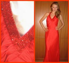 $925 OMG!!! CARMEN MARC VALVO french red beaded silk maxi gown/dress 6   $659.99