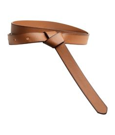 Narrow brown faux leather belt with decorative knot & adjustable fastener. | H&M Accessories