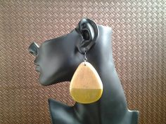 wood-teardrop-shape-earring-with-gold by IMIAccessories