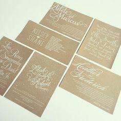 WHITE ON KRAFT!!!! white laser printed, wedding invitations, formal wedding invitations, white on kraft, white ink, Just Invite Me, This Way to Fabulous, Inc. Schaumburg, Illinois Wedding Invitations: