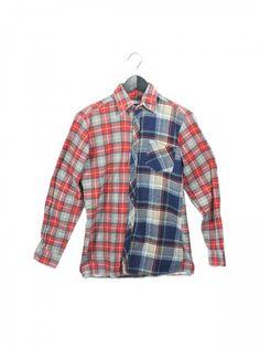 """Chemise épaisse """"Bigoût"""" Petits carreaux rouges / Gros carreaux bleus - bureaudemode.com"""