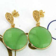 Zj7692 Halloween Sale Green Chalcedony Gold Plated New Fashion Earring Jewelry  #Handmade #DropDangle