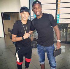 Neymar and Didier Drogba
