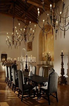 Long table.... three chandeliers...candles....perfect