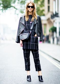 Add edge to a matching set with a leather jacket and mules