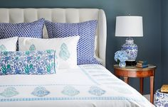 Find Your Perfect Bed Pillow Arrangement - blue, white and a hint of aqua