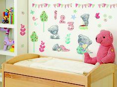 Tiny Tatty Teddy nursery wall stickers by FunToSee. Room Stickers, Nursery Wall Stickers, Baby Room Decor, Nursery Decor, Nursery Ideas, Little Boy Bedroom Ideas, Baby Boy Nurseries, Baby Rooms, Baby List