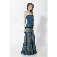 Vestido largo palabra de honor en combinación con varios estampados y torso efecto corset Azul - Mauna Barcelona - fashion - moda Strapless Dress Formal, Prom Dresses, Formal Dresses, Boho Chic, Fashion Moda, Barcelona, Spirit, Collection, Templates