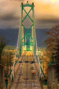 Vancouver Lion's Gate Bridge -Spans Burrard Inlet from Stanley Park Lion Images, Architectural Engineering, Lions Gate, Hdr Photography, Suspension Bridge, G Adventures, Futuristic Architecture, Commercial Photography, British Columbia