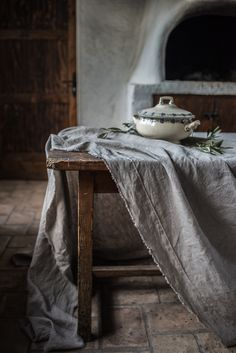 Rough Linen Smooth Natural Tablecloth - with pintucked border and raw edge